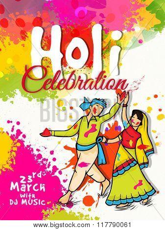 Colourful splash decorated Pamphlet, Banner or Flyer design with illustration of Indian couple for Colour Festival, Happy Holi celebration.