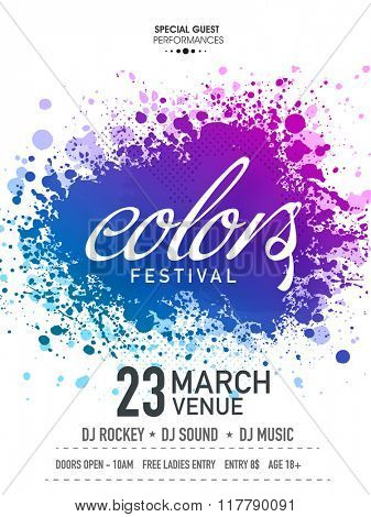 Creative Poster, Banner or Flyer design decorated with colour splash for Indian Festival, Happy Holi celebration.