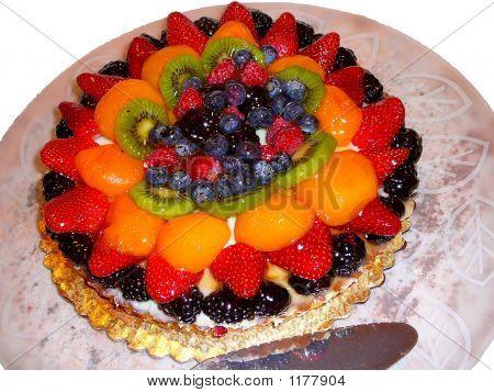Elegant Fruit Tart Pastry On White Background