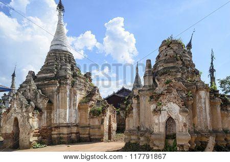 Shwe Inn Thein pagoda at Indein village near Inle Lake, Shan state, Burma (Myanmar)