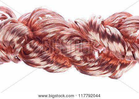Copper wires isolated on white background
