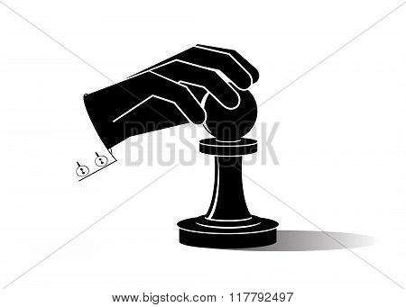 icon hand and pawn.
