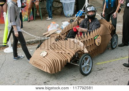 Cardboard Vehicle Driver Ready To Race In Soap Box Derby