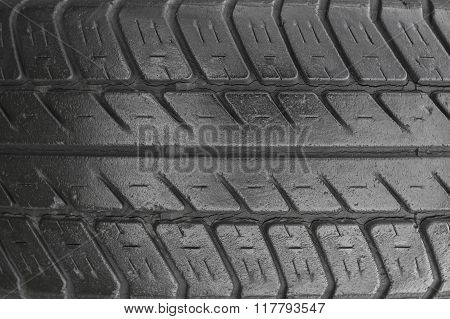 A tire tread, closeup view