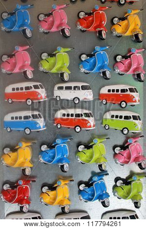 Colorful Vintage Buses And Scooters Magnet Souvenirs