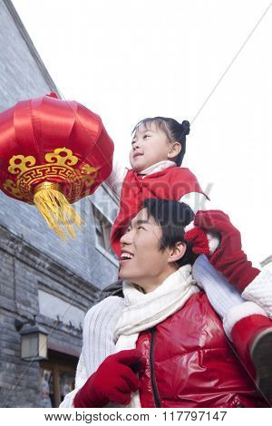 Father and daughter Celebrate Chinese New Year