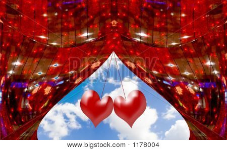 Red Abstract Curtains At A Window With The Sky And Clouds Decorated With Hearts