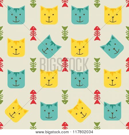 Cats and fish bones seamless pattern