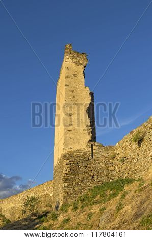 Ruined Tower Of The Medieval  Fortress.