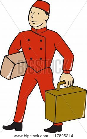 Illustration of a bellboy bellhop or porter carrying suitcase bag and luggage set on isolated white background done in cartoon style. poster