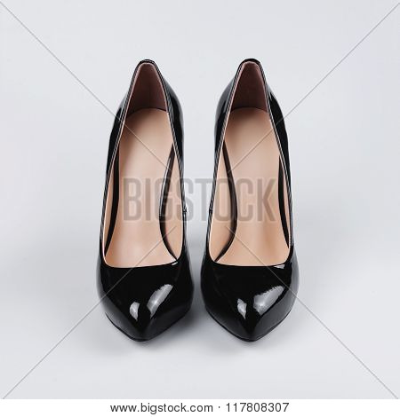 Pair Of Black Patent Leather Female Shoes