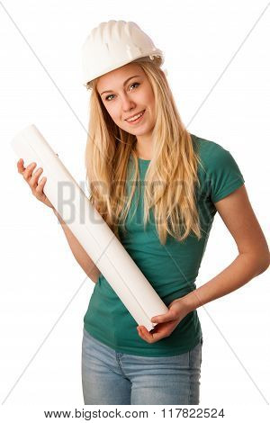 Woman Construction Engineer With Constructor Helmet And Construction Plan.