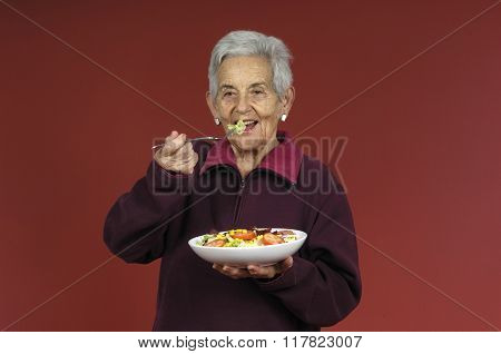 Senior Woman With a Salad