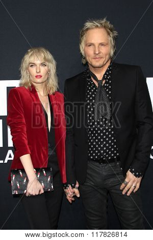 LOS ANGELES - FEB 10: Ace Harper, Matt Sorum arriving at the Saint Laurent fashion show at the Hollywood Palladium on February 10, 2016 in Los Angeles, California