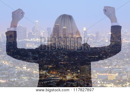 Success Business Woman Businesswoman Successful Manager City Double Exposure