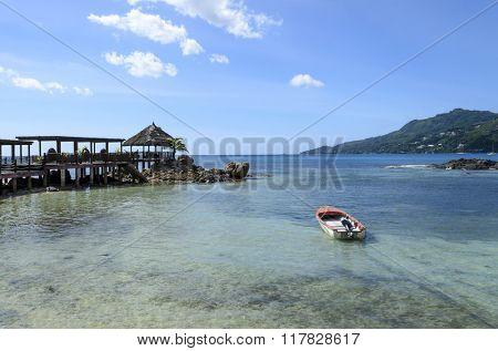 Tropical beach Baie Beau Vallon on Mahe island, Seychelles