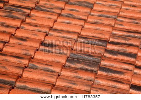 Old Terracotta Tile Roof, Detailed Structure View At An Angle The Tiles