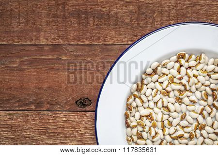 Yellow eye beans on a white metal enamel plate against rustic weathered wood with a copy space. This bean,  related to the kidney bean. is also referred to as a Dot-Eye Bean, Molasses-Face Bean.