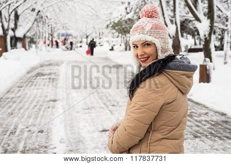 Happy Woman Walk In Park