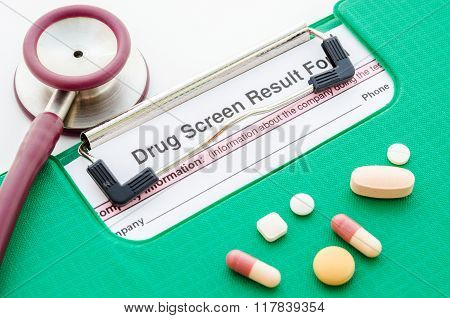 Drugs And Drug Screen Result Form.