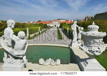 Baroque Park At The Belvedere Castle In Vienna