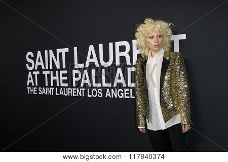 LOS ANGELES - FEB 10:  Lady Gaga at the SAINT LAURENT At The Palladium at the Hollywood Palladium on February 10, 2016 in Los Angeles, CA