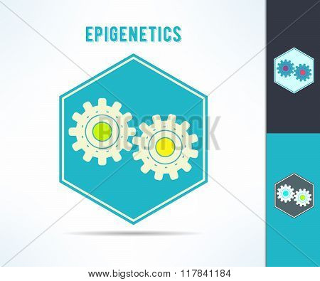 Vector dna epigenetics and genetics mechanism symbol. Cell with gears design element