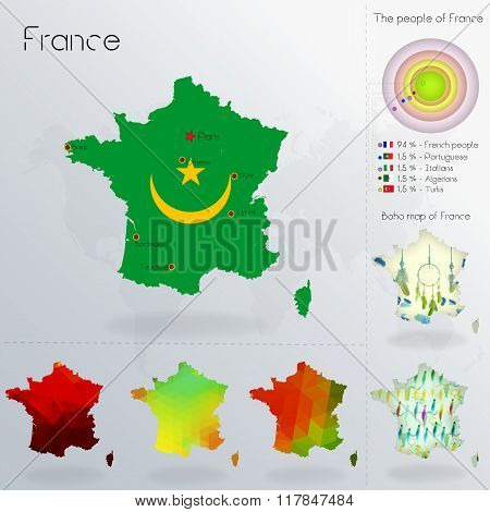Modern Geometric And Political Map Of France. Mauritanians Immigration To France. Mauritanians Peopl