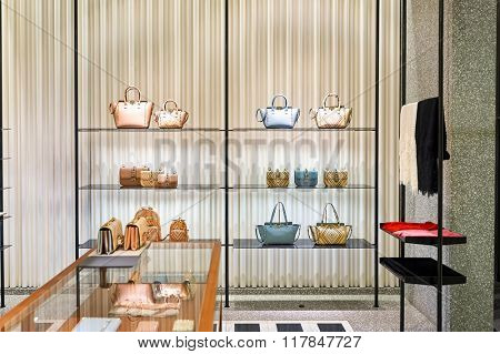 HONG KONG - JANUARY 27, 2016: interior of Valentino store at Elements Shopping Mall. Elements is a large shopping mall located on 1 Austin Road West, Tsim Sha Tsui, Kowloon, Hong Kong