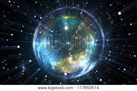 Spherical energetic and dynamic quantum bubble, illustration poster