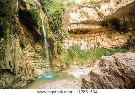 Waterfall In En Gedi Nature Reserve And National Park
