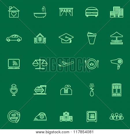 Hospitality Business Green Line Icons