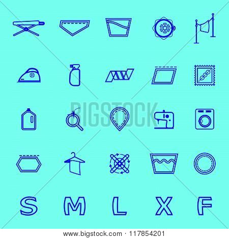 Cloth Care Sign And Symbol Blue Line Icons