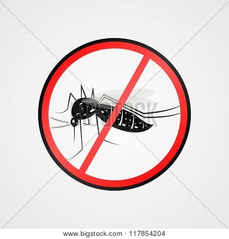 Anti Mosquito Symbol.mosquito Warning Sign.mosquitoes Carry Many Disease Such As Dengue Fever, Zika