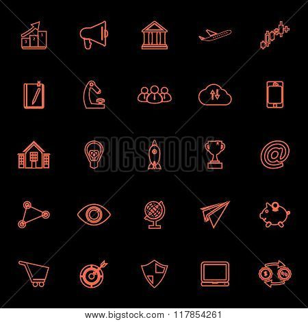 Startup Business Orange Line Icons