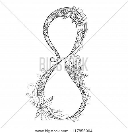 Vector Hand Drawn Decorative Element For 8 March Design. Doodle Floral Pattern To International Wome
