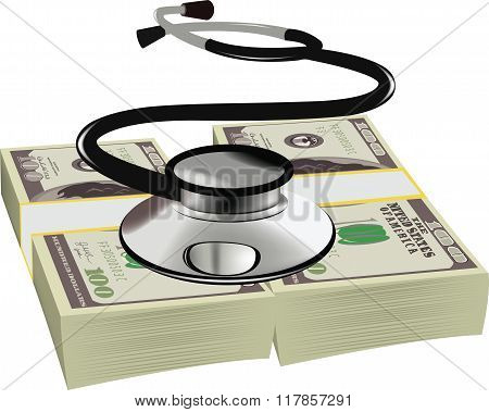 healthy dollars stethoscope  symbol wad of dollars