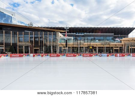 VATRA DORNEI, ROMANIA - FEBRUARY 2016: Beautiful rink at business center on 06th of February in Iasi