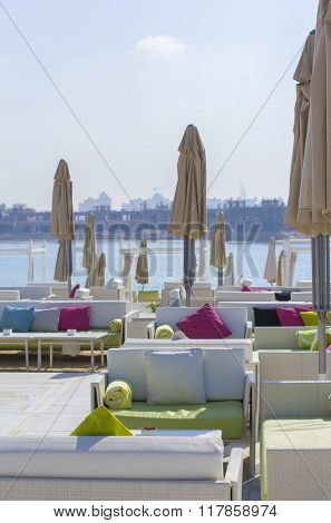 landscape view of beach lounge on the shore in Dubai