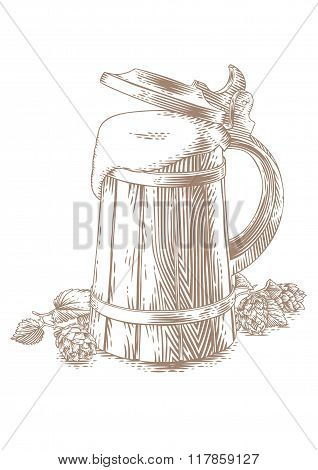Wooden Mug With Beer And Hops