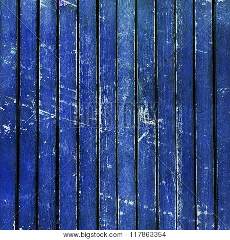 Bright Blue Wooden Timber / Scuffed Planks Background Texture.