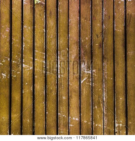 Golden Yellow Wooden Timber / Scuffed Planks Background Texture.