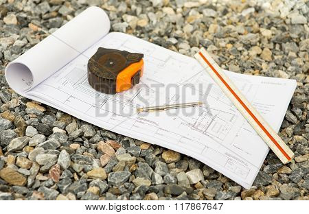 architecture drawings with pencil ruler and Cartridges meters