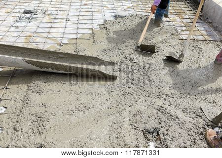 A Plasterer Concrete Worker At Floor Work