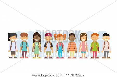 Children Group Mix Race Standing In Line