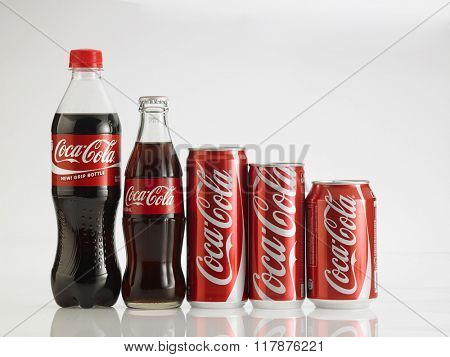 Kuala Lumpur Malaysia,Jan 18th 2016 Various size of Coca Cola drinks. Coca Cola drinks are produced and manufactured by The Coca-Cola Company, an American multinational beverage corporation.