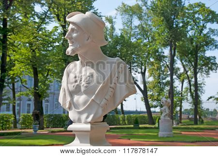 Saint-Petersburg. Russia. Bust of Democritus