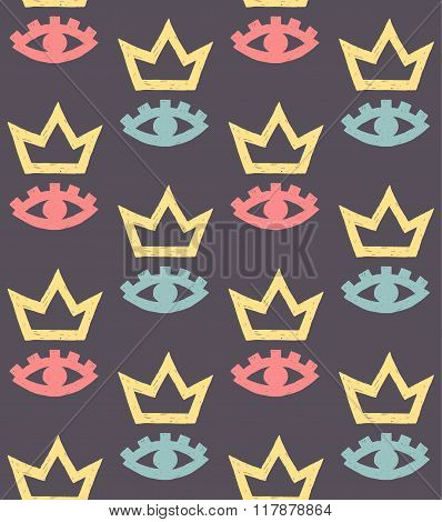 Vector Pattern Of Colorful Eyes And Crowns On Gray Background