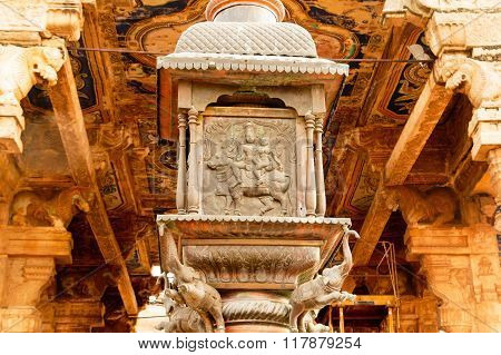 Thanjavur Brihadeeswara temple 's dhvaja stambha finely carved sculpture work