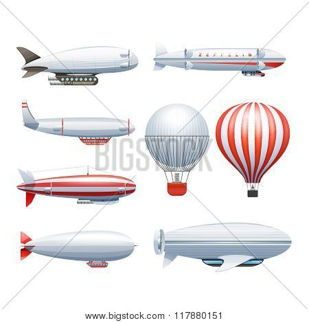 Dirigible Airship White Red Icons Set